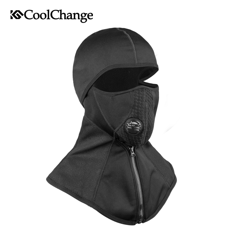 CoolChange Winter Cycling Face Mask Cap Ski Bike Mask Thermal Fleece Snowboard Shield Hat Cold Headwear Bicycle Training Mask coolchange 20006 cycling thicken fleeces face mask hat scarf black