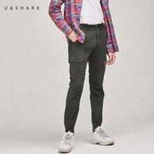 U& SHARK, осенние мужские брюки-карго, уличный стиль, повседневные брюки, Мужская одежда, много карманов, общий, армейские, стрейчевые, хлопковые, мужские брюки