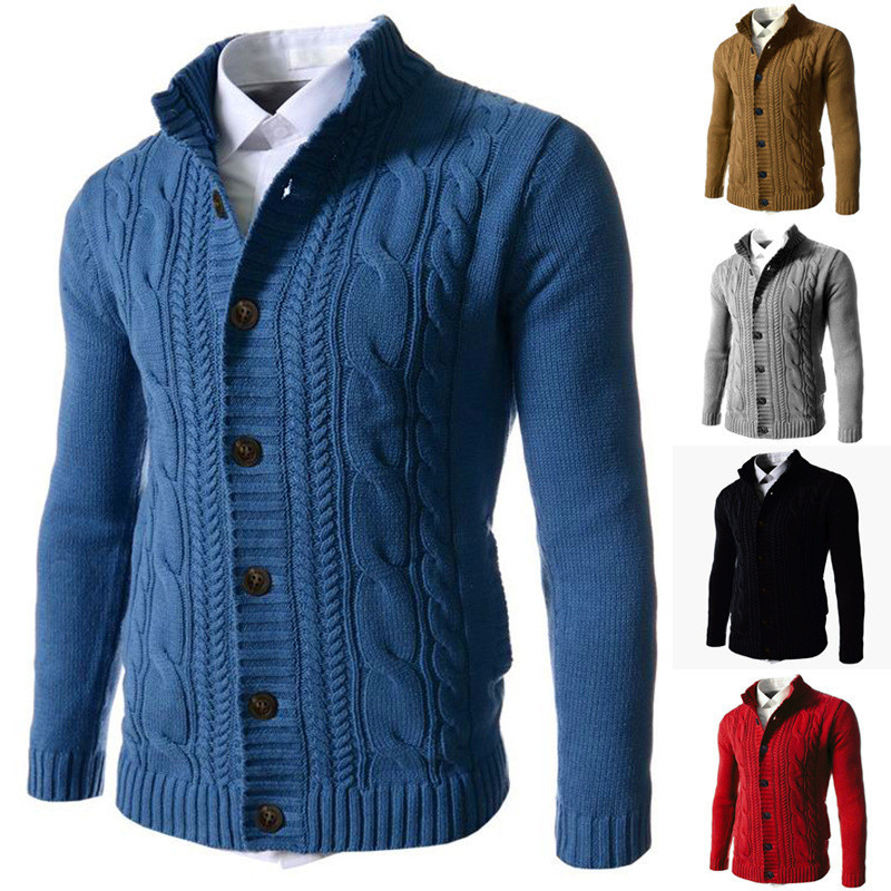 Cardigan Men Sweater Male Winter Casual Christmas Sweater Solid Embroidery Buckle Long Sleeve Knitted Warm Sweaters Cardigan