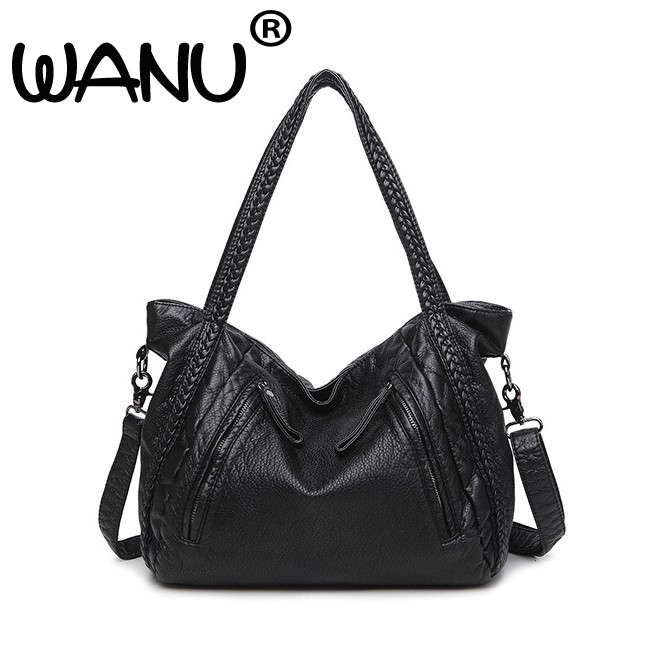 2018 New Large Capacity Washed Leather Shoulder Bags Women American Tidal  Fashion Leisure Travel Bag Boutique c7d11880ecbd6