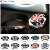 Black White UK Flag Engine Start Push Start Cap Cover For MINI Cooper