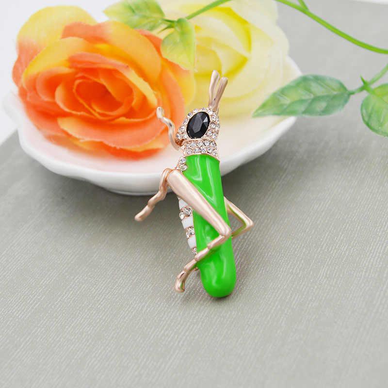 CINKILE зеленый цвет броши в виде кузнечика для женщин насекомое с эмалевым покрытием шпильки осенний стиль Джинсовый Рюкзак значки корсаж ювелирные изделия подарок