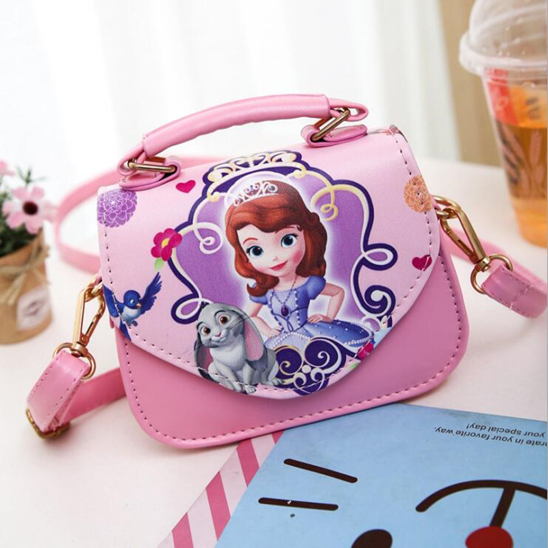 New Fashion Girls Bags Sofia Handbag Girls Accessories Kids Handbags Children PU Party princess Messenger bag For Girls new korea style fashion handbag cute kids children fashion brand princess party crossbody bag with gold chain for baby girls