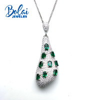 Bolaijewelry,Natural Green emerald gemstone classic pendant 925 sterling silver fine jewelry for women anniversary party gift