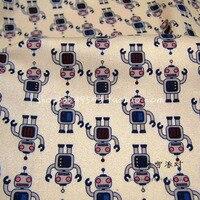 Nice140 50cm 1pcs 100 Cotton Fabric Tissue Patchwork Telas Khaki Robot Printed Diy Sewing Baby Clothes
