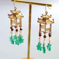 Lii Ji Real Green Onyx Star Beads Freshwater Pearl Garnet Gold Filled Chinese Traditional Handmade Tassel Earrings