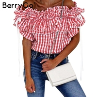 BerryGo Sexy Off Shoulder Plaid Blouse Shirt Ruffle Bow Sashes Short Sleeve Female Blouse Casual Streetwear