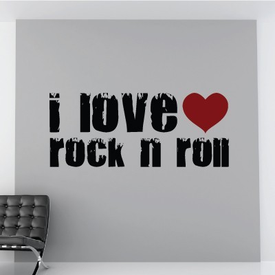 I Love Rock N Roll Music Art Wall Quotes Removable Pvc Wall Sticker