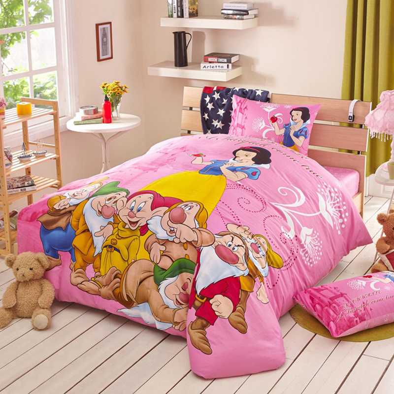 DISNEY 100% Cotton Snow White and the Seven Dwarfs Pink Bedding Set Cartoon Duvet Cover Sheet Set Single Queen Size Beddings