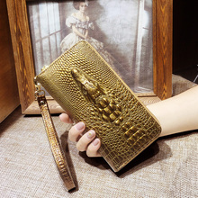 Ladies leather wallets 3D crocodile alligator women purse clutch Long Female Wristlet coin purse Phone Pocket Handy Girls Wallet