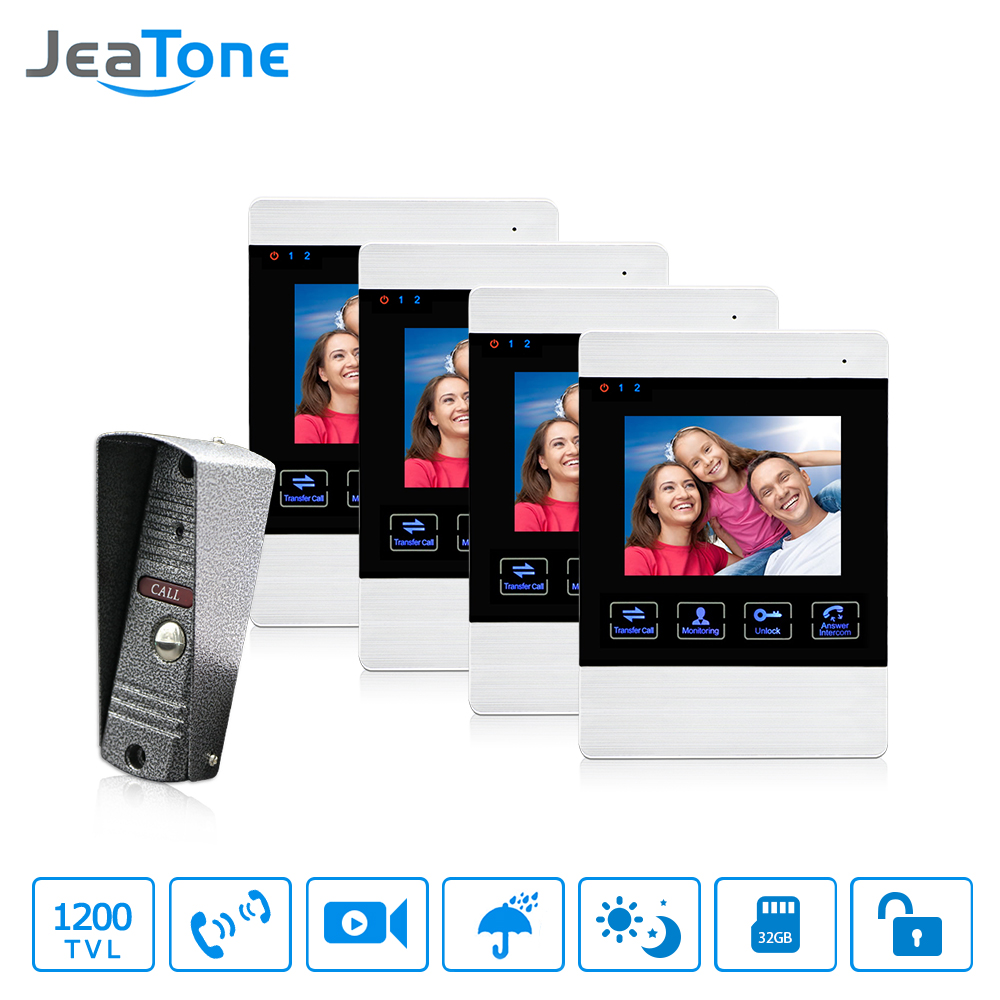 JeaTone 4 Inch LCD Color Screen Video Door Intercom System Wired Doorbell Camera Indoor Monitor Night Vision Security System lcd wired video security doorphone camera tft screen video interphone infrared night vision doorbell intercom