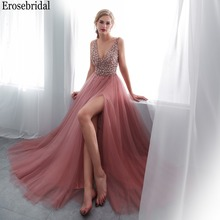 Erosrbridal Long Prom Dress 2019 Front Split A Line Women Party Gowns Deep V Neck with Beading Bodice Sweep Train Lace Up Back цена 2017