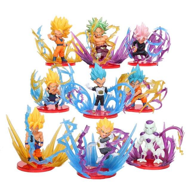 9 pçs/set Goku Dragon Ball Super Explosão Rosa Preto Azul Deus Vegetto Broly Figura Freeza Brinquedos Brinquedos Bonecas Figurals