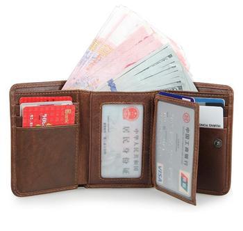 NEW HOHE QUALITÄT Echtes Leder retro männer brieftaschen RFID Sperrung Trifold Wallet männer Short Vintage Geldbörse Kartenhalter marke