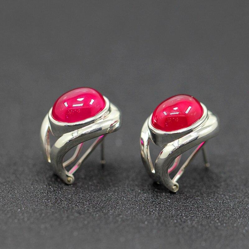 Caractère argent nouvelle mode anneau de mode avec l'anneau de lisse S925 corindon rouge boucle d'oreille