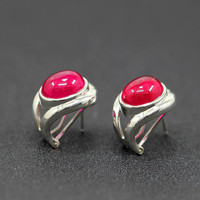 Character silver new fashion fashion ring with the ring of smooth S925 red corundum ear buckle