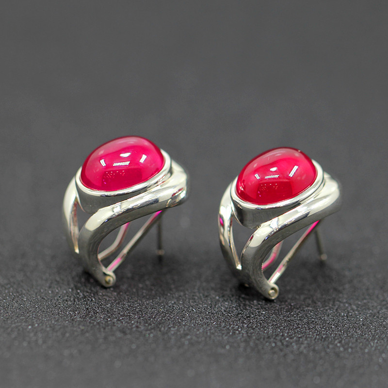 Character silver new fashion fashion ring with the ring of smooth S925 red corundum ear buckle the character of the new fashion women s silver moon moon goddess calla true to life s925 ring