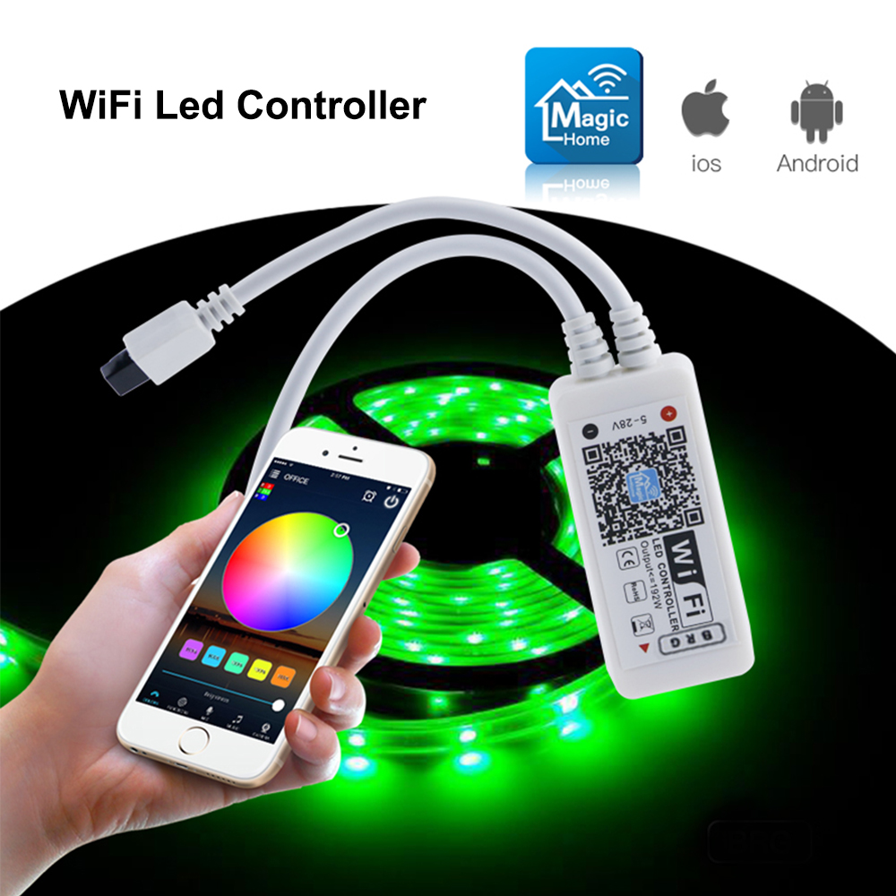 New Arrival Mini RF Wifi LED RGB Controller DC5V 12V 24V Mini WIFI Music Controller Light Strip Controller For RGB LED Strip mini wifi rgb strip light controller with music control and voice control compatible with google home
