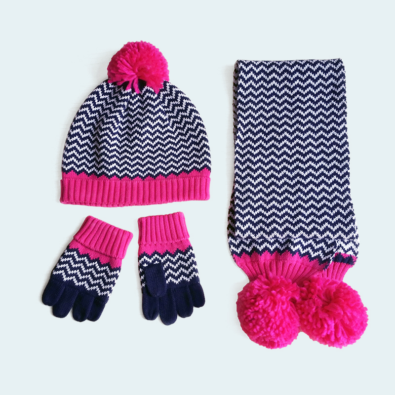kids girls wave striped knitted cotton hat scarf and glove set children fashi...
