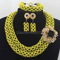 Thời trang Màu Vàng/Đen Bridesmaid Pha Lê Costume Đặt Người Phụ Nữ của Necklace Set Wedding Trang Sức Đảng Quà Tặng Miễn Phí ShippingHD7637
