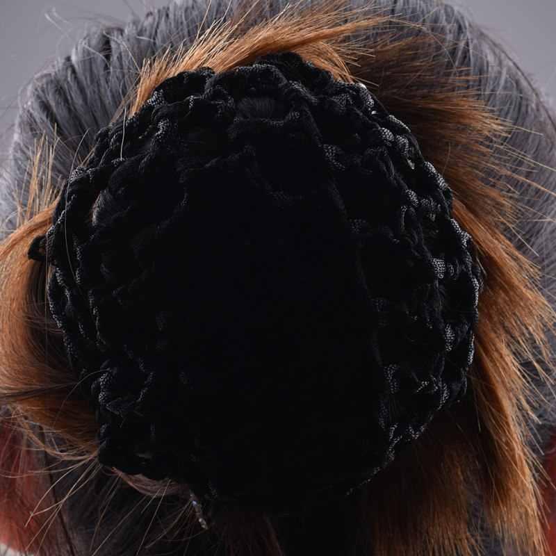 1 pcs Đẹp Bun Bìa Dây Ngắn Cột Lưởi Câu Phụ Nữ Tóc Ballet Net Vũ Skating Crochet Fanchon Rhinestone Tạo Kiểu Nón Phụ Kiện