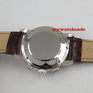 Image 2 - Berühmte Marke 42mm CORGEUT Weiß Zifferblatt Datum Tag Kaffee Lederband Multifunktions Automatische Herren Uhr Solide Edelstahl Fall