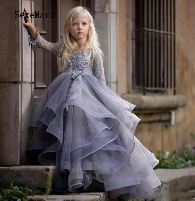 Lilas manches longues robe de demoiselle d'honneur avec Appliques florales 3D dentelle robes de bal pour les filles robe de fête d'anniversaire Vestidos toute taille