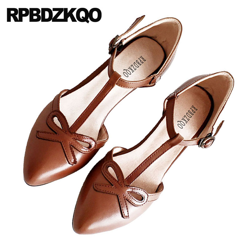 Women Pumps Thick 2018 High Heels T Strap Bow Bar Retro European Designer Shoes Japanese Medium Multi Colored Brown Pointed Toe strap