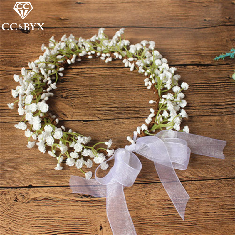 CC Flower Crowns Tiaras Hairbands Romantic Sweet Garland Wedding Hair Accessories For Bride Bridesmaids Beach Jewelry DIY su022 цена