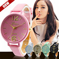 Perfect Gift Geneva watches for women Faux Leather Analog Quartz Watch Levert Dropship June27 H0