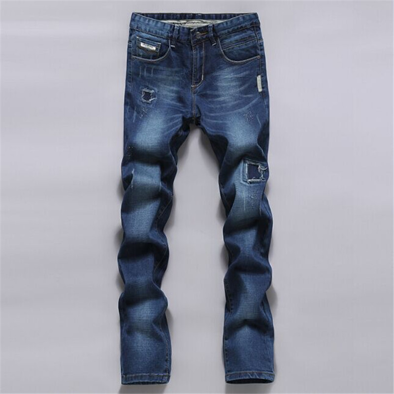 Men Denim Jeans New Arrival Spring Autumn Brand Fashion Slim Fit Cotton Straight Denim Jeans Male High Quality Casual Pant D1787 new men s autumn elastic black brand jeans casual fashion straight cassical denim pants men slim male jeans meth pant for man