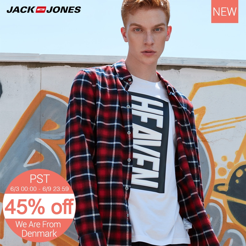 Jack Jones Men Trendy Check Slim Long-Sleeved Shirt Coat M|217305524