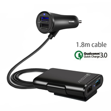 цена на Car Charger Adapter 4 USB quick Charge Cigarette Lighter Adapter With 1.8M Cable Charging For Mobile Phone GPS iPad Tablet