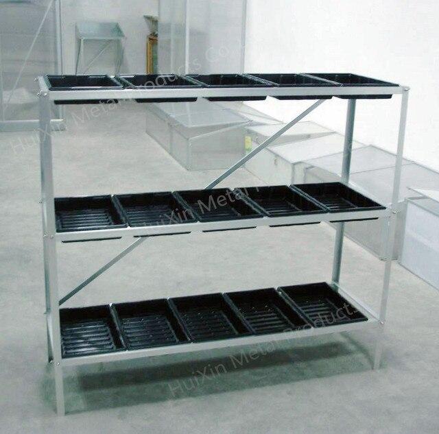 3 Tier Tragbare Aluminium Rahmen Samen Fach Metall Regal Gewachshaus
