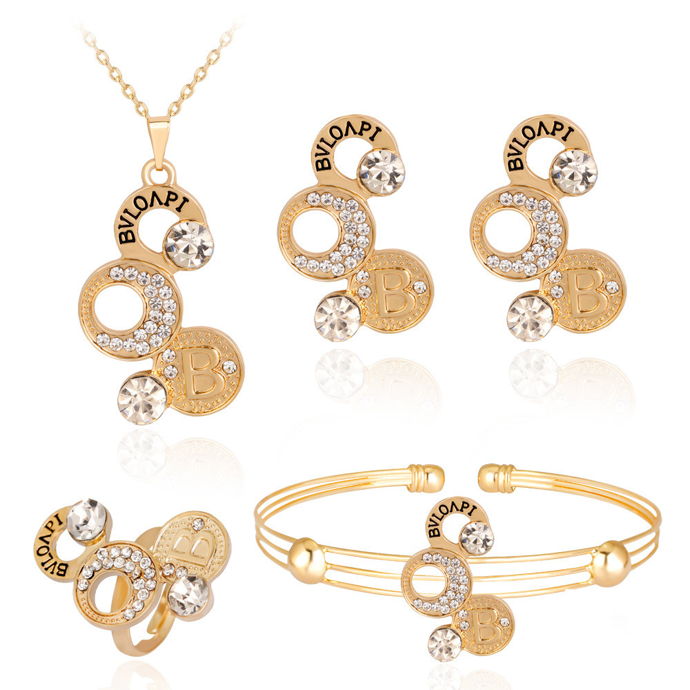 Fashion Gold Color Coin Pendant Necklace Ring Earrings Sets Lovely Crystal Rhinestones Gril Women Party Gifts Jewelry Sets 20%