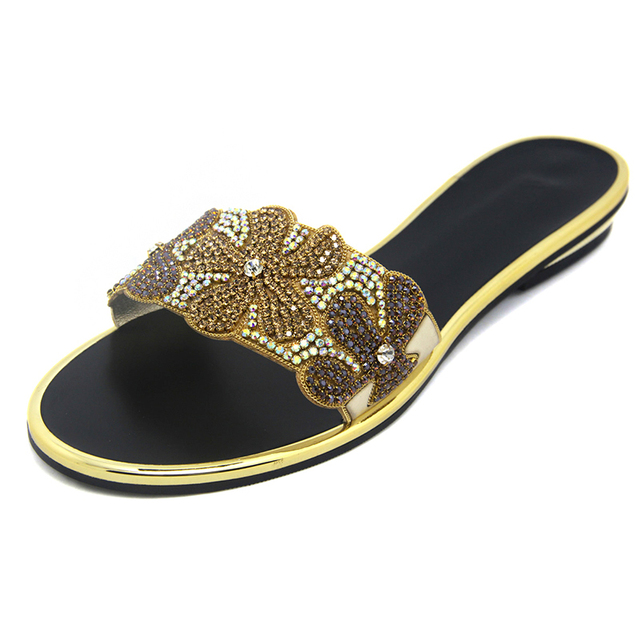 Brand Designers Pakistan Womens Sandals Summer Style Slippers 2015 Woman Shoes Flat Rhinestone Ladies Floral Party