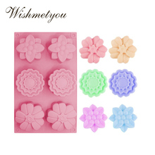 WISHMETYOU 6 holes three flower All Kinds Of Flowers Silicone Mold Handmade Soap Cake Moon Baking Decoration Tool