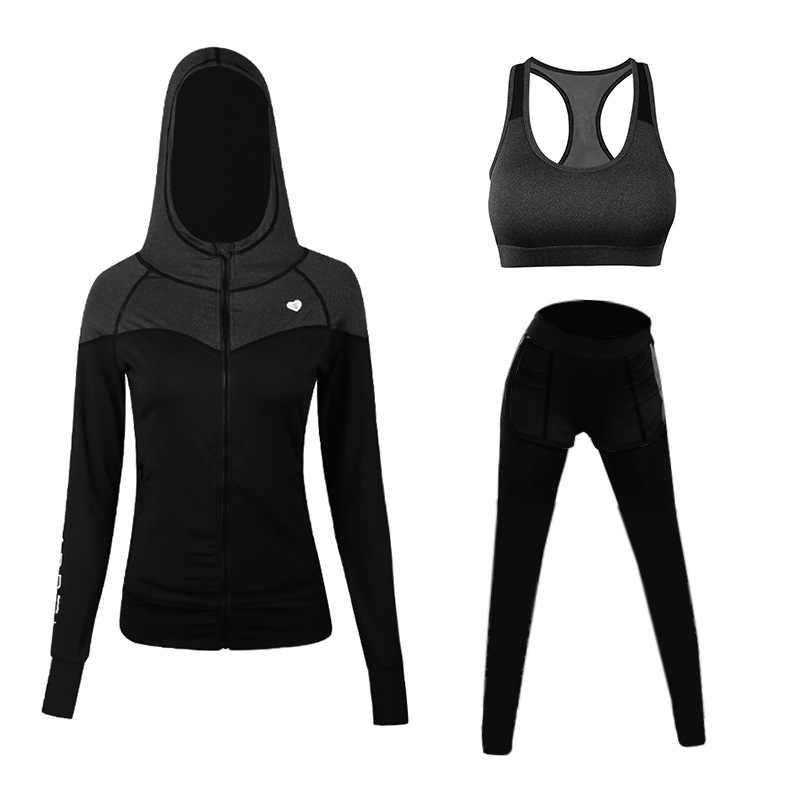 Voobuyla осень для женщин 3 в 1 Бег Йога костюм спортивная куртка + бюстгальтер + брюки дышащий тренажерный зал бег спортивный набор быстросохнущая для девочек Йога костюм
