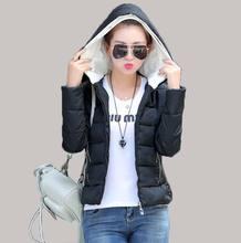 Новый 2015 осень зима женщины мода твердые тонкий с капюшоном хлопка-ватник короткий жакет пальто BL1138