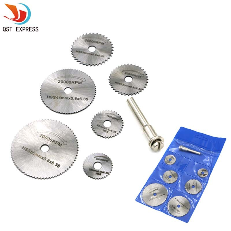 6PCS High-speed-steel Circular Rotary Blade Wheel Discs Mandrel For Metal Qstexpress Rotary Tools W/ 1 Mandrel Wood Cutting Saw