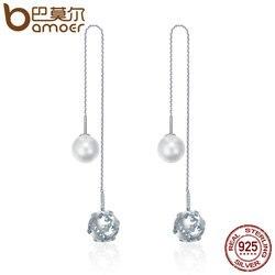 BAMOER 925 Sterling Silver Long Tassel Double Sides Ball Luminous Star Drop Earrings for Women Korean Earrings Jewelry SCE241