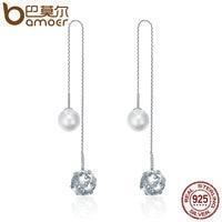 BAMOER 925 Sterling Silver Long Tassel Double Sides Ball Luminous Star Drop Earrings For Women Korean