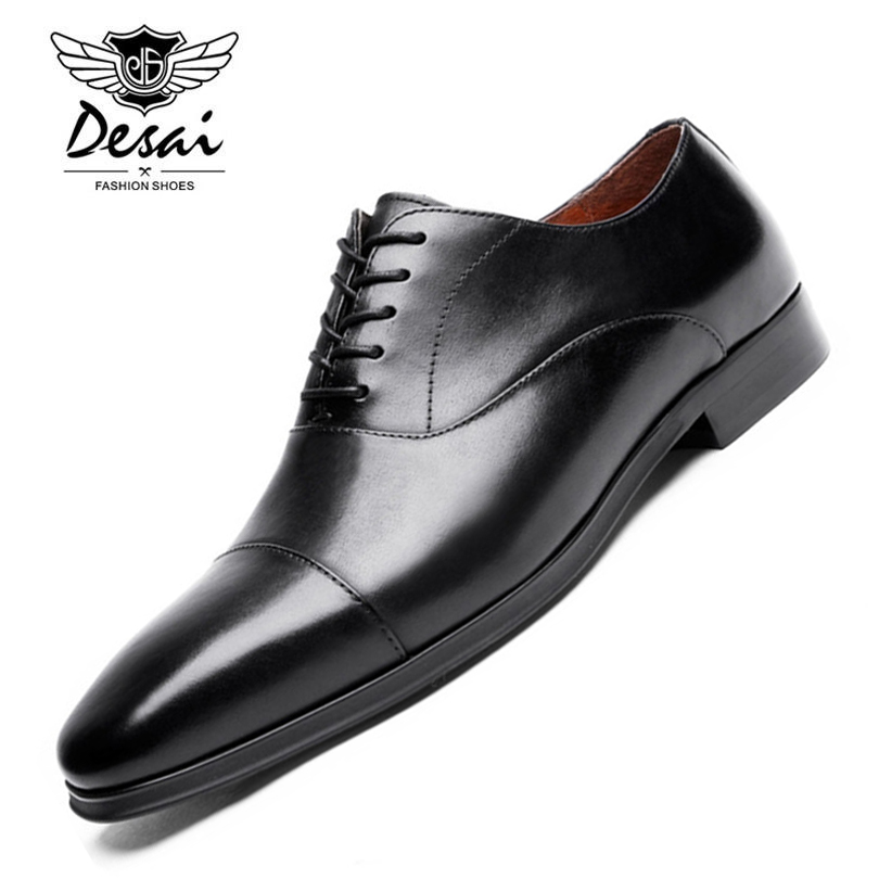 DESAI Brand Luxury Genuine Leather Men Formal Shoes Pointed Toe Top Quality Cow Leather Oxford Men Dress Shoes Plus Size hot sale mens genuine leather cow lace up male formal shoes dress shoes pointed toe footwear multi color plus size 37 44 yellow
