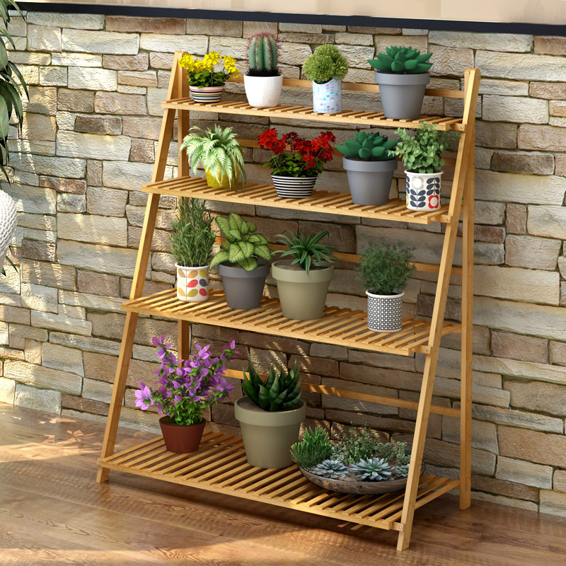 A LK1704 Wooden Multi-layer Folding Green Flower Shelf Flowerpot Holder Decoration Hanging Flower Pot Rack Balcony Garden Rack shelf