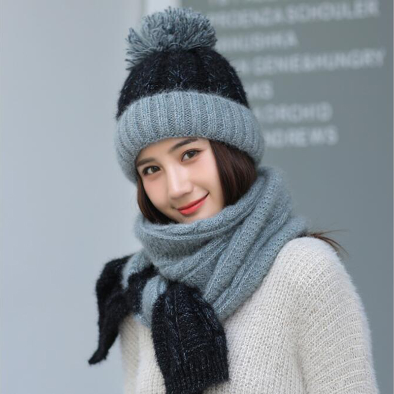 1 Set Hat And Scarf Korean Knitted Hat Winter Knitted Hats For Women Female Scarves And Shawls Fashion Winter Scarf For Women
