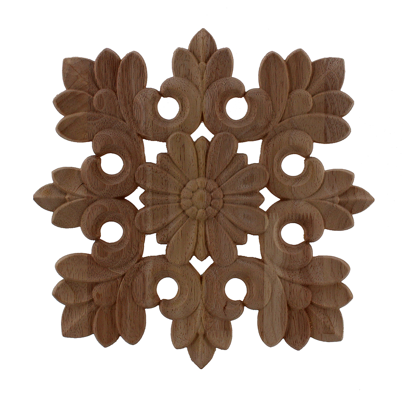 VZLX Wood Appliques Carving Frame For Furniture Cabinet Door Bed Nautical Home Decor Wooden Figurine Flower Pattern Carve