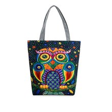 Fashion Female Canvas Beach Bag Cartoon Owl Printed Casual Tote Women Canvas Handbag Daily Use Single Shoulder Shopping Bags