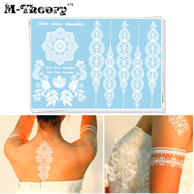M-Theory Wedding Bride Temporary 3D Makeup Tattoos Body Arts White Lace Flash Tatoos Sticker Tatto Swimsuit Bridal Makeup Tools