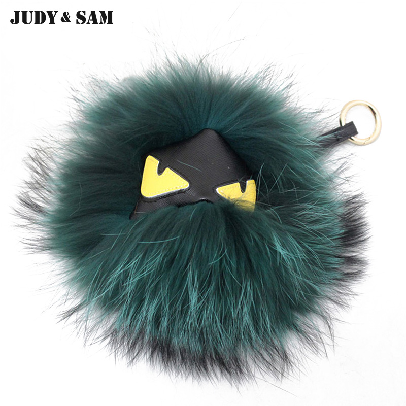 Show Fashion Real Raccoon Fur Pompom Monster Accessory Big Size 2 Styles Fur Bag Charm Key Cart Pendant Chains