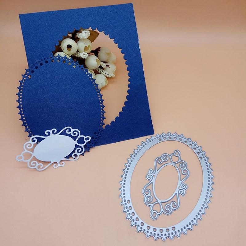 Oval Heart Dot  Flower Metal Cutting Dies Scrapbooking Embossing Card Craft